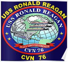 USS Ronald Reagan (CVN-76) Crest for Dark Colors Poster