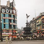 Eros Picadilly Circus London 1957 by Fred Mitchell