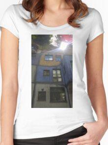 Hundertwasserhaus Vienna, Austria Women's Fitted Scoop T-Shirt
