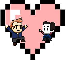 """Love in 8-bit"": Jeff and Annie (Style C) by oncenfuturekiki"