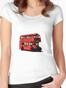 Vintage Red Double Decker London Bus Women's Fitted Scoop T-Shirt
