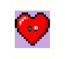 """""""Love in 8-bit"""": Britta and Troy (Style A) Art Print"""