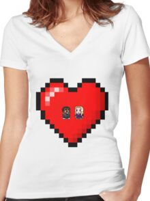 """""""Love in 8-bit"""": Britta and Troy (Style A) Women's Fitted V-Neck T-Shirt"""