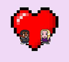 """Love in 8-bit"": Britta and Troy (Style B) by oncenfuturekiki"
