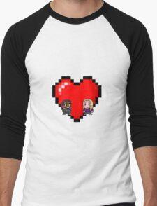 """Love in 8-bit"": Britta and Troy (Style B) Men's Baseball ¾ T-Shirt"