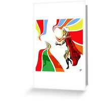 Robot Femme Fatale in Red Cloak.. Greeting Card