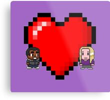 """Love in 8-bit"": Britta and Troy (Style C) Metal Print"