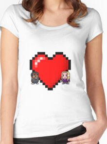 """""""Love in 8-bit"""": Britta and Troy (Style C) Women's Fitted Scoop T-Shirt"""