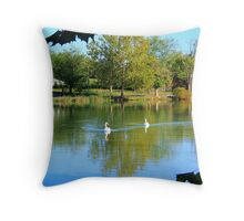 Two Swans A Swimming Throw Pillow