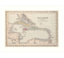 Vintage Map of The Caribbean (1857) Art Print