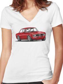 Alfa Romeo Gulia GTA Women's Fitted V-Neck T-Shirt