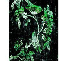 GREEN BIRDS ON THE TREE. by Vitta