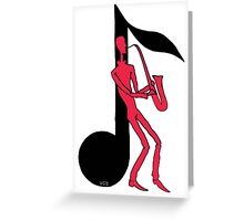 Saxophone Playing Man pen ink red and black drawing Greeting Card