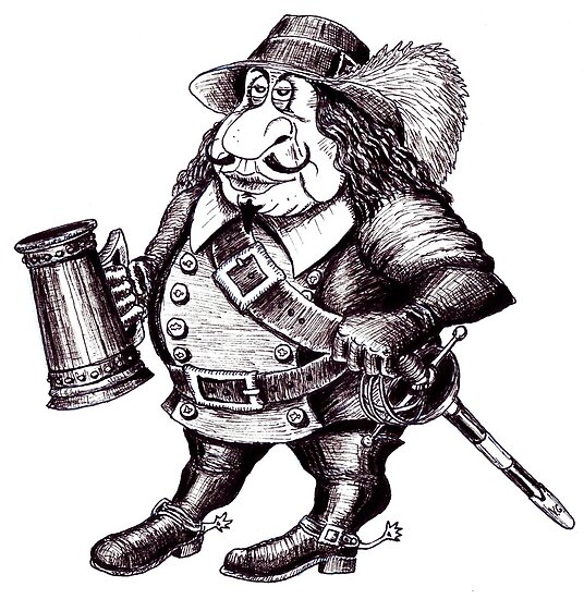 Beer Drinking Musketeer pen ink black and white drawing by Vitaliy Gonikman