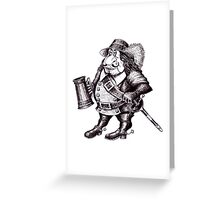 Beer Drinking Musketeer pen ink black and white drawing Greeting Card