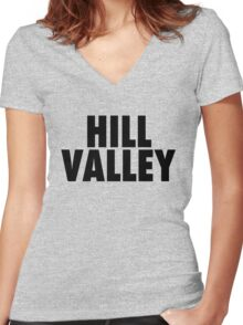 Hill Valley - Back To The Future Women's Fitted V-Neck T-Shirt