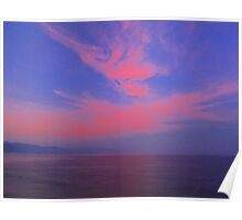 Blue sky, Red Clouds, Violet Ocean - Cielo Azul, Nubes Rojas, Océano Violeta Poster
