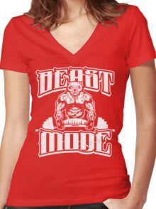 Beast Mode Gym Fitness Sports Women's Fitted V-Neck T-Shirt