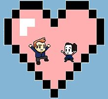 """Love in 8-bit"": Jeff and Annie (Style D) by oncenfuturekiki"