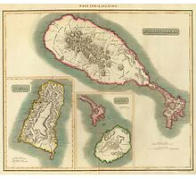 Vintage Map of Various Islands of The Caribbean Photographic Print