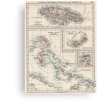 Vintage Map of Various Caribbean Islands (1906) Canvas Print