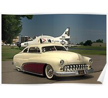 1949 Mercury Custom Low Rider and the Marines A-4L Skyhawk Poster