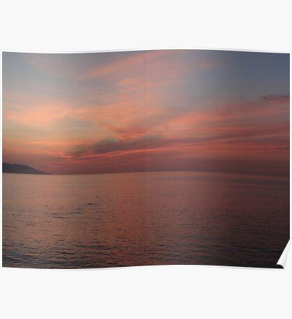 Coloured Sky And Ocean After Sunset - Cielo Y Oceano Pacifico Colorado Despues Puesta Del Sol Poster