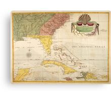 Vintage Map of The Caribbean (1754) Canvas Print