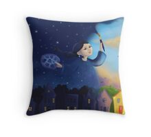 Night lady turns day into night Throw Pillow