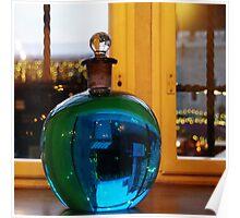 Blue bottle ball Poster