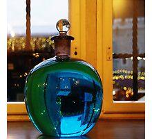 Blue bottle ball Photographic Print