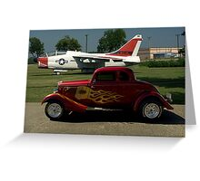 1934 Ford Coupe and Air force A-7 Corsair II Jet Plane Greeting Card