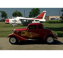 1934 Ford Coupe and Air force A-7 Corsair II Jet Plane Photographic Print