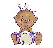 Cute Baby in Diaper Photographic Print