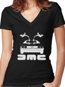 DeLorean DMC NEGATIVE Women's Fitted V-Neck T-Shirt