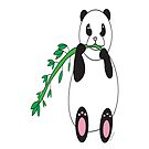 Panda Eats Bamboo by ValeriesGallery