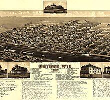 Vintage Pictorial Map of Cheyenne Wyoming (1882) by BravuraMedia