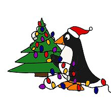 Funny Cool Penguin Putting Christmas Lights on Tree by naturesfancy