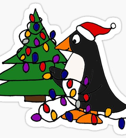 Funny Cool Penguin Putting Christmas Lights on Tree Sticker