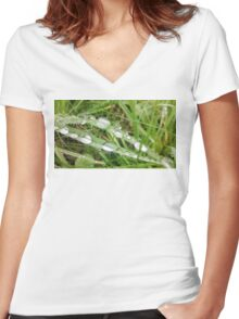 Grass Water Droplets Women's Fitted V-Neck T-Shirt