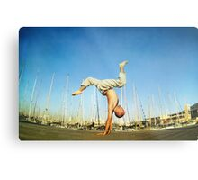 Handstand, inverted Yoga asana in Barcelona Metal Print