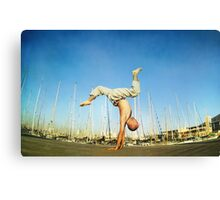 Handstand, inverted Yoga asana in Barcelona Canvas Print