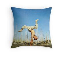 Handstand, inverted Yoga asana in Barcelona Throw Pillow