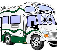 Green Cartoon Camper by Graphxpro
