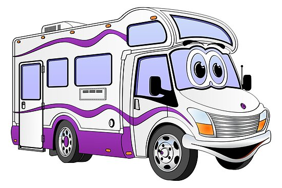 Purple Cartoon Camper by Graphxpro