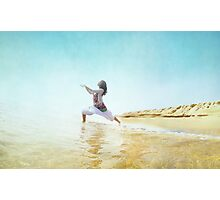 Woman in prayer position. Yoga in the beach,  Barcelona Photographic Print