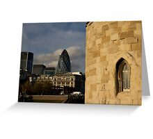 The Tower of London with Modern building in the background  Greeting Card