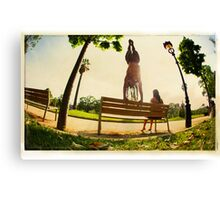 Handstand in the bench, Yoga in the park  Canvas Print