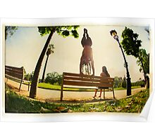 Handstand in the bench, Yoga in the park  Poster