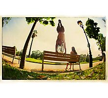 Handstand in the bench, Yoga in the park  Photographic Print